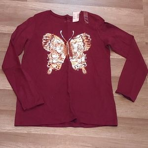 Childrens place long sleeve butterfly tee. Size 16